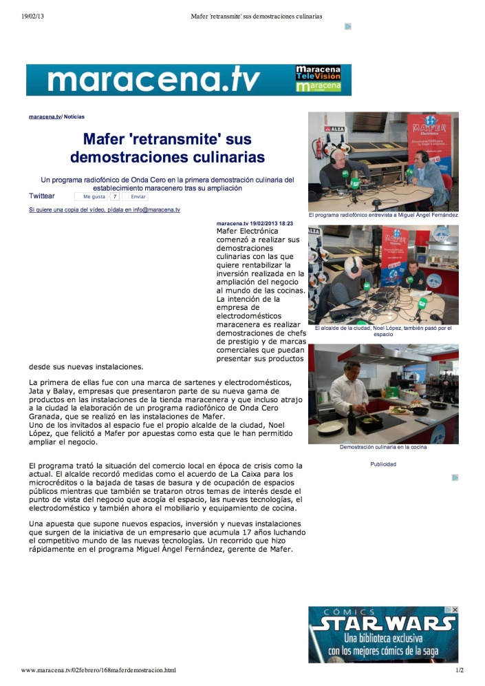 """""""Mafer 'retransmite' sus demostraciones culinarias"""""""